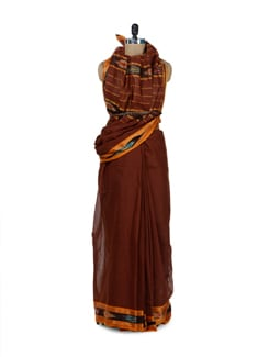 Earthy Brown Cotton Saree With Ikat Border - Desiweaves