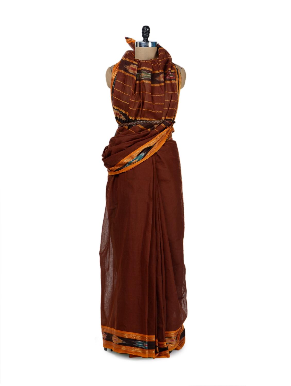 Earthy Brown Cotton Saree With Ikat Border - Desiweaves