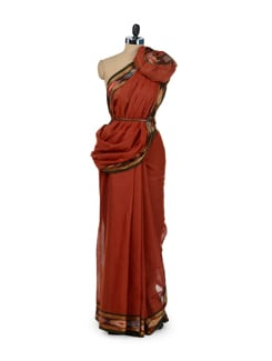 Rust Brown Ikat Print Border Saree - Desiweaves