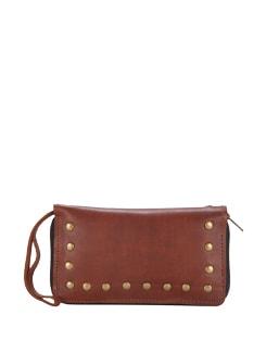 Chocolate Brown Studded Travel Wallet - The House Of Tara
