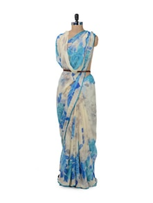 Cream & Blue Floral Saree - ROOP KASHISH