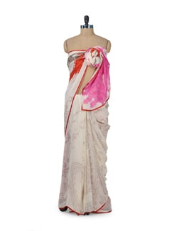 White & Orange Floral Saree - ROOP KASHISH