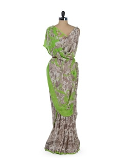 Grey & Green Printed Floral Saree - ROOP KASHISH