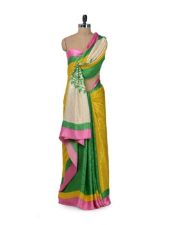Vibrant Green & Yellow Printed Saree - ROOP KASHISH