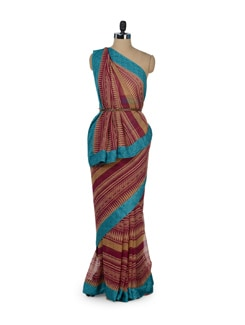Printed Saree With Contrast Border - ROOP KASHISH