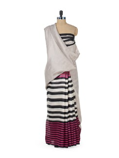 Chic Grey Saree With Stripes - ROOP KASHISH