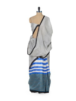 Stylish Grey & Blue Saree With Stripes - ROOP KASHISH
