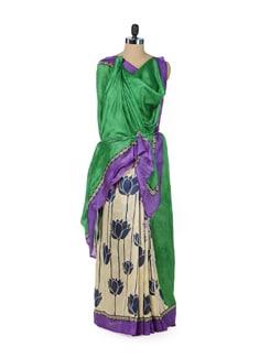 Beige Floral Silk Saree - ROOP KASHISH