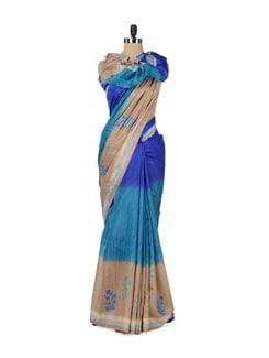 Elegant Blue & Beige Printed Saree - ROOP KASHISH
