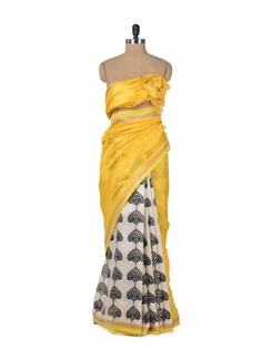 Elegant Yellow Tree Print Saree - ROOP KASHISH