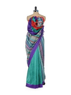 Bright Yellow Saree With Multicolored Stripes - ROOP KASHISH