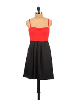 Strappy Red And Black Dress - Vvoguish