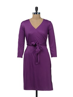 Electric Purple Wrap Dress - Color Cocktail