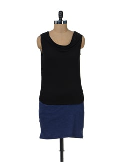 Cowl Dress In Black And Indigo Blue - Color Cocktail