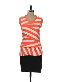 Striped Orange Peplum Dress - Color Cocktail