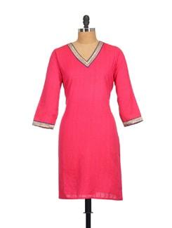 Hot Pink Kurta With Zari Neckline - SSV
