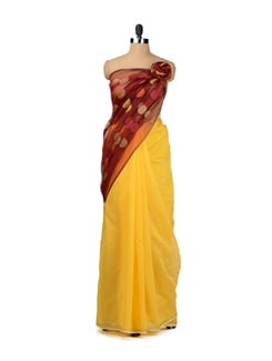 Yellow Chanderi Saree With Polka Dotted Organza Pallu - URBAN PARI