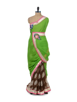 Brown & Green Printed Saree - ROOP KASHISH