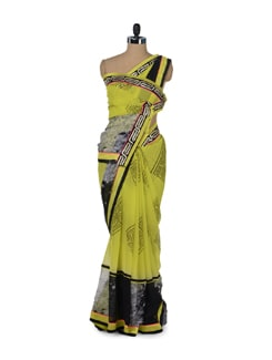 Fluroscent & Black Printed Designer Saree - ROOP KASHISH