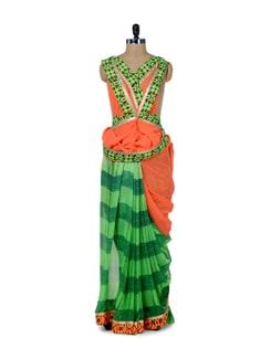 Elegant Green & Orange Printed Saree - ROOP KASHISH