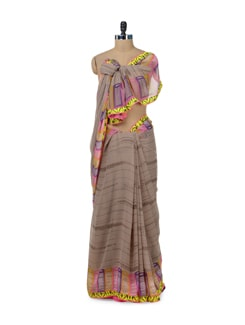 Stylish Grey Telephone Print Saree - ROOP KASHISH