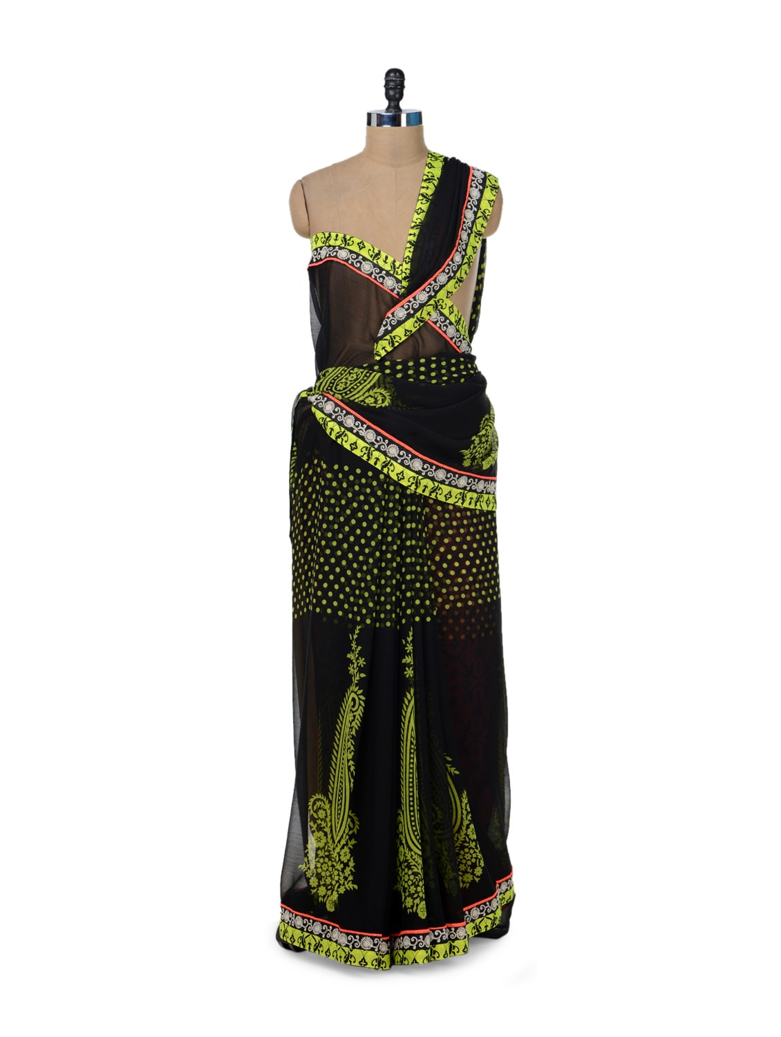 Black & Yellow Paisley Print Saree - ROOP KASHISH