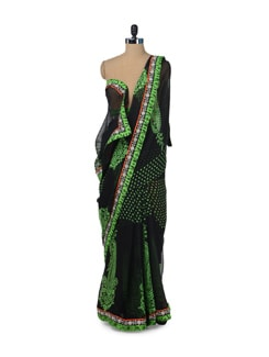 Black & Neon Green Paisley Print Saree - ROOP KASHISH