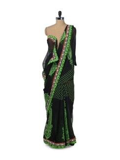 Black & Neon Green Paisley Print Saree - ROOP KASHISH
