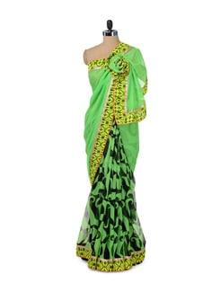 Parrot Green Paisley Print Saree - ROOP KASHISH