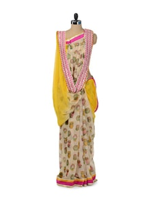 Chic Yellow & Black Printed Saree - ROOP KASHISH