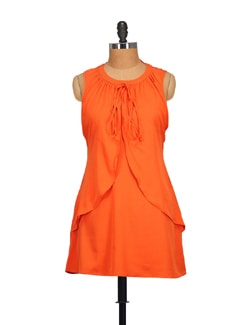 Elegant Orange Short Dress - STYLE QUOTIENT BY NOI