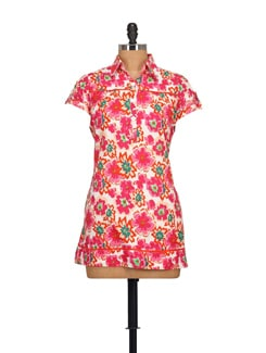 Floral Print Tunic- Pink - STYLE QUOTIENT BY NOI