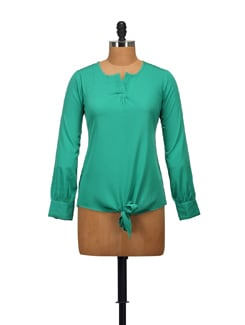 Pleated V-neck Top - Green - STYLE QUOTIENT BY NOI