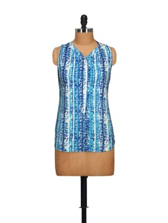 Blue Shaded Sleeveless Top - STYLE QUOTIENT BY NOI