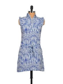 Abstract Striped High Neck Dress- Blue - STYLE QUOTIENT BY NOI