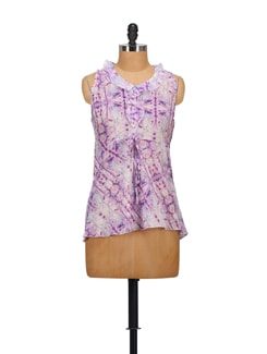 Spray Print Ruffled Top- Purple - STYLE QUOTIENT BY NOI