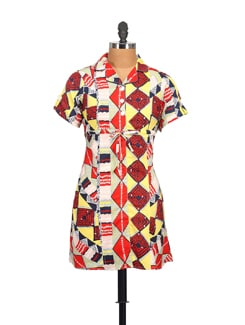 Printed Dress With Lapel Collar - STYLE QUOTIENT BY NOI