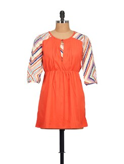 Coral Dress With Printed Sleeves - STYLE QUOTIENT BY NOI
