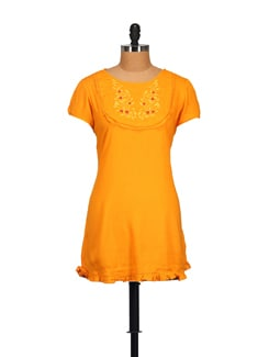 Embroidered Yellow Tunic Top - STYLE QUOTIENT BY NOI