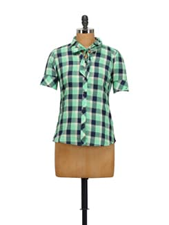 Check Print Shirt- Green - STYLE QUOTIENT BY NOI
