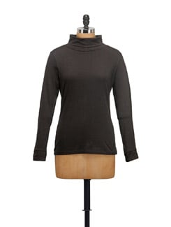 Basic Black High Neck Top - STYLE QUOTIENT BY NOI