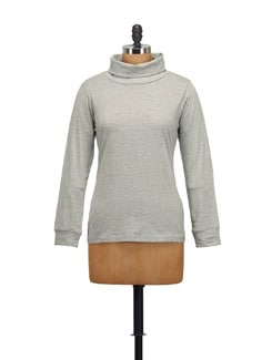 Grey Melange High Neck Top - STYLE QUOTIENT BY NOI
