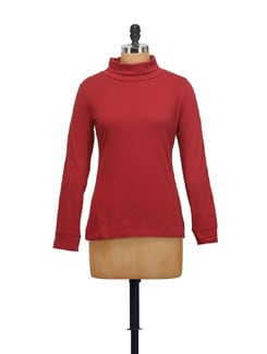 Red High Neck Top - STYLE QUOTIENT BY NOI