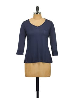 Navy Blue V-neck Top - STYLE QUOTIENT BY NOI
