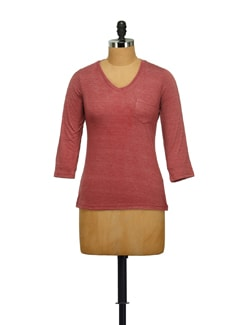 Maroon Melange V-neck Top - STYLE QUOTIENT BY NOI