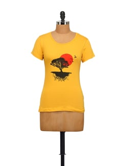 Nature Print Mustard Yellow T-shirt - STYLE QUOTIENT BY NOI