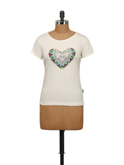 Stylized Heart Print T-Shirt - STYLE QUOTIENT BY NOI
