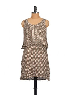 Printed Brown Double Layer Dress - NOI