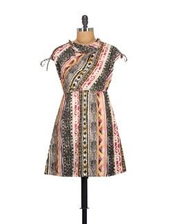 Multicolored Cowl Neck Dress - NOI