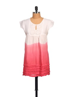 White & Coral Lace Yoke Dress - NOI